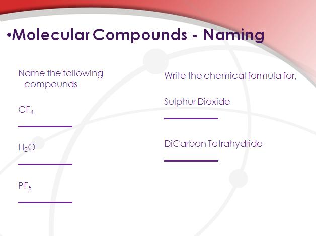 Molecular Compounds Chemistry Lesson