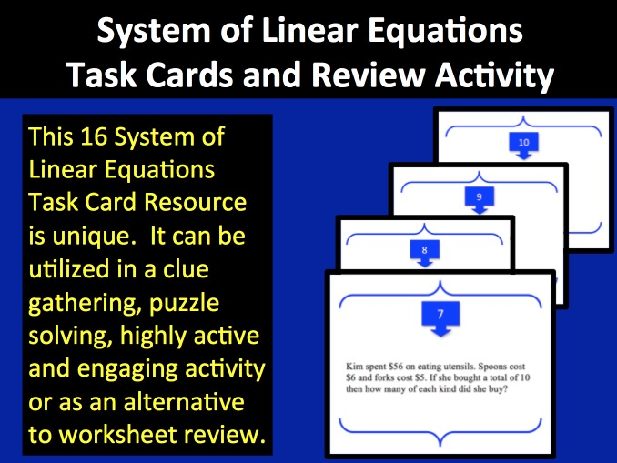System Of Linear Equations Task Cards And Review Activity Teach